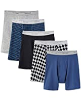NEW Fruit of the Loom Men's 5pk Fashion Print Solid Boxer Briefs