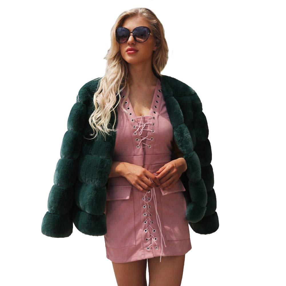 Green XXLarge Tootu Womens Ladies Warm Faux Fur Coat Jacket Winter Outerwear