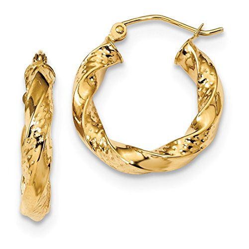 14k Yellow Gold Twist Hoop Earrings Ear Hoops Set Fine Jewelry For Women Gift Set ()