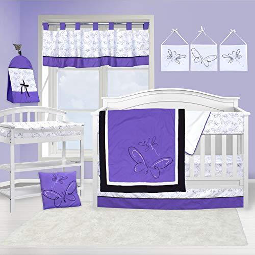 Pam Grace Creations Butterflies & Dragonflies Crib Bedding Set, Purple, 13 Piece