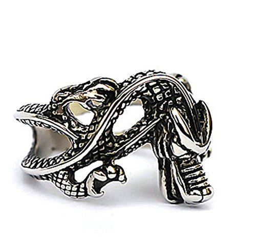 [Men's Stainless Steel Finger Rings Dragon Hollow Openwork Vintage Silver Black Size 8] (Lion Costume Philippines)