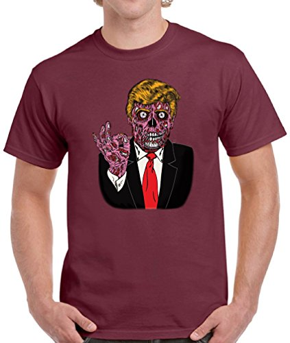 Vizor Men's Halloween Trump T-shirts Shirts Tops Zombie Trump Halloween Costume Maroon (Michelle And Barack Obama Costumes)