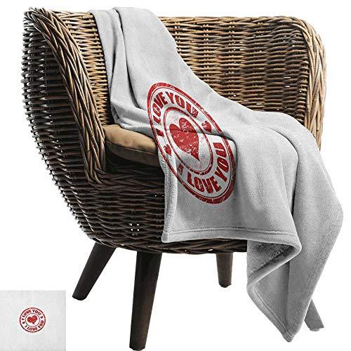 Alexandear Love,Super Soft Lightweight Blanket,Grunge Stamp Shape with Heart Inside Declaration of Love Positive Vibes Retro Emblem 60