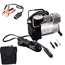 Automaze Heavy Duty Metal 12V Electric Car Air Compressor Pump Tire Inflator With Bag & Alligator Clamps