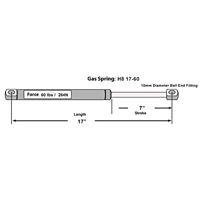 "Hatchlift Products Gas Spring 17"" x 60 lb Force: Automotive"