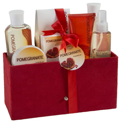 Gift Baskets for Women Pomegranate Bath and Body All in One Large Spa Gift Set: Shower Gel, Bubble Bath, Bath Salt, Body Spray, Body lotion, Body scrub, Bath soap in Red Velvet Rich Box #1 Gift Idea