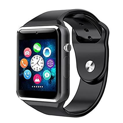 Bluetooth A1 Smart Watch for iPhone iOS, Android, Samsung, Sony, HTC & LG Smartphones + Memory and SIM Card Capable (Black)
