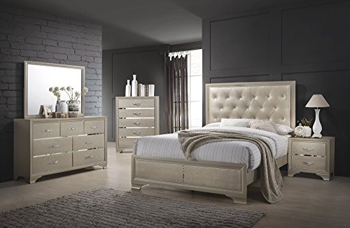 "Coaster Home Furnishings 205291Q Platform Bed, 63.25"" W x 83.75"" D x 59.75"" H, Cream/Champagne"