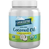 Carrington Farms Sin gluten, Sin refinar, Prensado en frío, Aceite de coco orgánico virgen, 54 oz. (Onza), Aceite de coco para el cuidado de la piel y el cabello, cocina, horneado y batidos