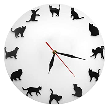 Reloj De Pared Simple Gato Negro 30cm Decoracion Personalizada Sala Habitación Cocina Reloj Decoración De Pared: Amazon.es: Hogar