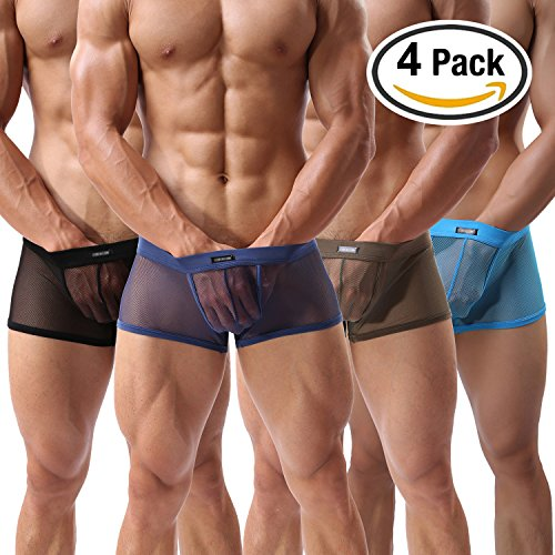 Men's Boxer Briefs Sexy Underwear Mesh Breathable Gay Low Rise Boxers(36Hei,L)