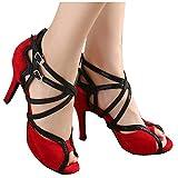 salsa shoes 10 - Minishion Women's Fashion Red Performance Salsa Tango Ballroom Latin Dance Sandals 10 M US