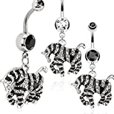 zebra navel ring - Black Enamel Paved CZs Striped Zebra Dangle 316L Surgical Steel Belly Button Ring