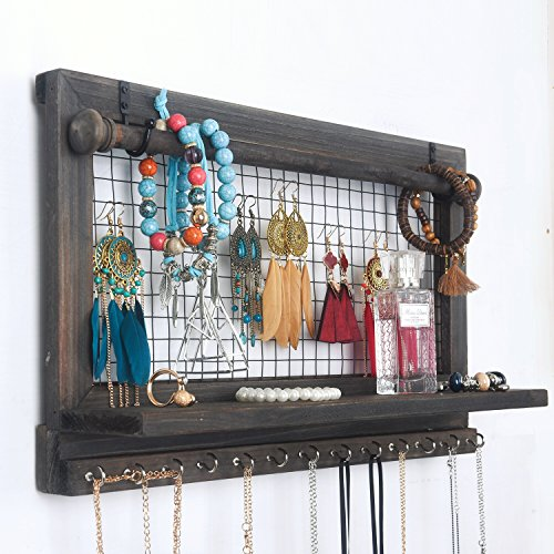 RHF Jewelry Organizer, Rustic Home Decor, Jewelry Holder Organizer, Necklace Holder, Earring Organizer, Jewelry Storage, Jewelry Shelf