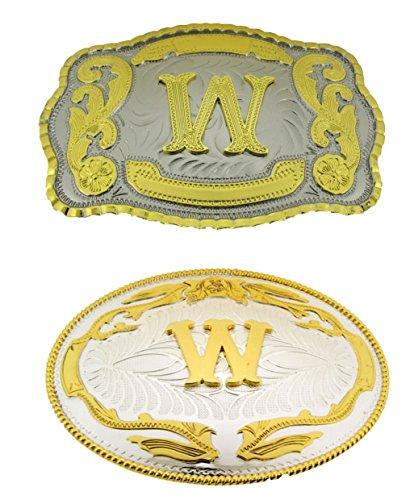 Greek Belt Buckles - Big Initial Letter W Belt Buckles Two Styles Western Monogram Cowboy Gold Silver