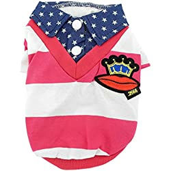 SMALLLEE_LUCKY_STORE XY000285-pink-S Small Dog/Cat Denim Collar Striped Cotton Polo T-Shirt, Pink, Small