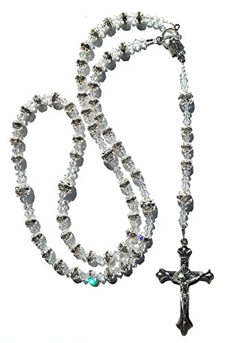 Crystal Sterling Silver Crucifix - 8