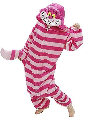 Onesie Costume Cat Cheshire (Harvey Unsex Men's Women's Nightclothes Cosplay Kigurumi Flannel Anime Cartoon Onesie Adult Pajamas Nighty Cheshire cat Size)