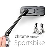 KiWAV Magazi glossy black mirrors aluminum cnc w/ chrome adapter for sport bike