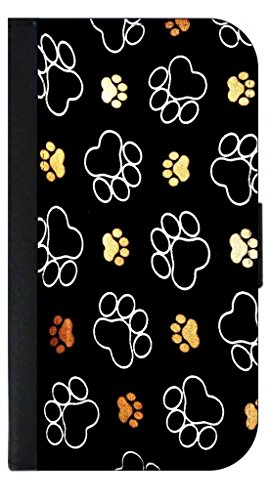 Wallet Paw Prints (Puppy Pawprints - Wallet Case for the Apple Iphone 6 PLUS ONLY-Black leather-Look Case with Flip Cover and Magnetic Closure)