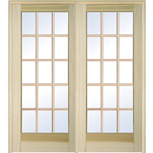 National Door Company Z009503L Unfinished Poplar Wood 15 Lite True Divided Clear Glass, Left Hand Prehung Interior Double Door, 60'' x 80'' by National Door Company