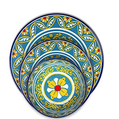- Melange 18-Piece Melamine Dinnerware Set (Tuscany) | Shatter-Proof and Chip-Resistant Melamine Plates and Bowls | Dinner Plate, Salad Plate & Soup Bowl (6 Each)