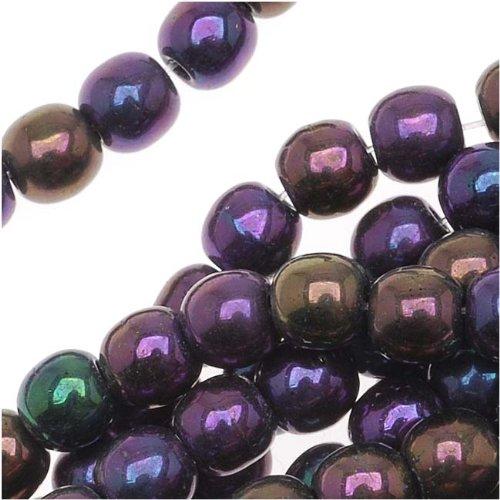 Czech Glass Druk Round Beads 4mm Purple Iris (100) ()