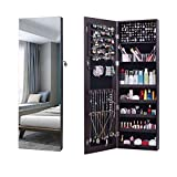 AOOU Jewelry Organizer Jewelry Cabinet,Full Screen Display View Larger Mirror, Full Length Mirror,Large Capacity Dressing Mirror Makeup Jewelry Armoire (Brown) ...