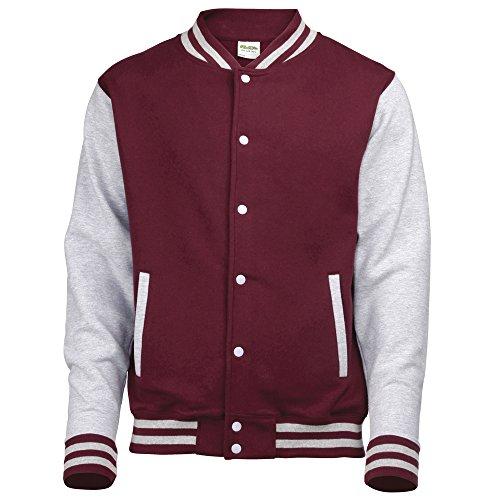 AWDis Hoods Varsity jacket Burgundy / Heather Grey 2XL