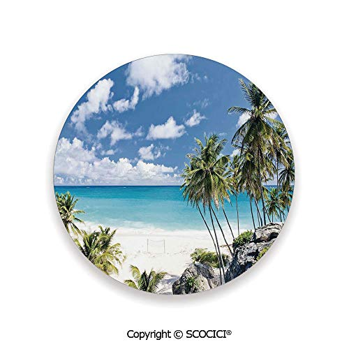 Ceramic Coaster With Cork Mat on the back side, Tabletop Protection for Any Table Type, round coaster,Summer,Bottom Bay Barbados Beach Tropical Palms Ocean,3.9