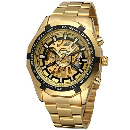 Forsining Men's Automatic Dressing Analogue Round Wrist Watch with Stainless Steel Bracelet FSG8042M4G3