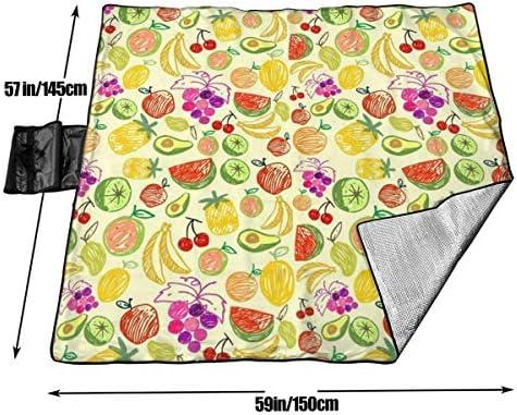 Suo Long Picnic Coperta Anguria Ciliegia Ananas Frutta Doodle Sabbia Antisdrucciolevole Tote da Spiaggia per Campeggio Escursionismo Erba Viaggiare
