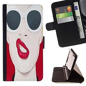 - Cool Pop Art Sexy Red Lips - - Prima caja de la PU billetera de cuero con ranuras para tarjetas, efectivo desmontable correa para l Funny HouseFOR Apple Iphone 6