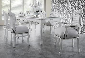 Lieblich Casa Padrino Barock Esszimmer Set Weiß/Weiß   Esstisch + 6 Stühle