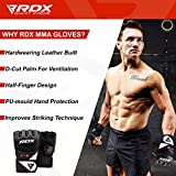 RDX Maya Hide Leather Grappling MMA Gloves UFC Cage Fighting Sparring Glove Training F12, X-Large, Black