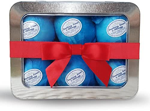 Rejuvelle Bath Bomb Gift Set -6 All Natural Soothing Sinus, Allergy and Congestion Relief Fizzies. Eucalyptus, Peppermint Essential Oils to Help You Breathe Easy! Enjoy a Moisturizing Fizzy Lush Bath.