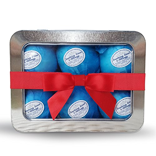 Rejuvelle Bath Bomb Gift Set -6 All Natural Soothing Sinus, Allergy and Congestion Relief Fizzies. Eucalyptus, Peppermint Essential Oils to Help You Breathe Easy! Enjoy a Moisturizing Fizzy Lush - Relief Natural Congestion Sinus