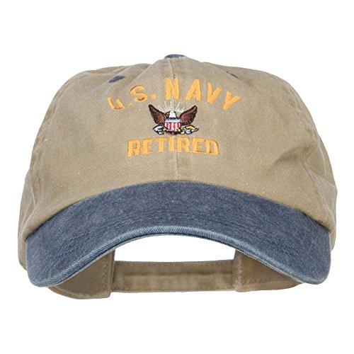 e4Hats.com US Navy Retired Military Embroidered Two Tone Cap - Khaki Navy OSFM