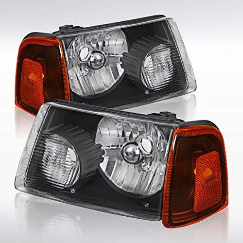Headlights Black Diamond - Autozensation Ford Ranger Euro Diamond Black Headlights w/Amber Corner Signal Lamps