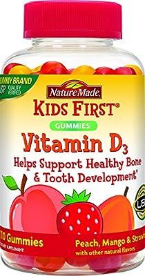 Nature Made Kids First Vitamin D Gummies, 110 Count, Peach/Mango/Strawberry