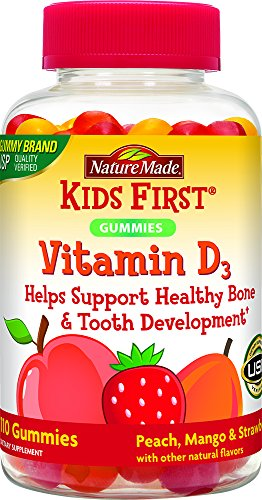 Nature Made Kids First Vitamin D Gummies, 110 Count, Peach/Mango/Strawberry