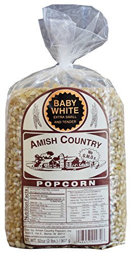 Amish Country Popcorn - Baby White (2 Pound Bag) - Small & Tender Popcorn - Old Fashioned and Delicious with Recipe Guide