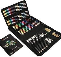 Zenacolor Kit Dessin Complet 74 pièces avec 1 Cahier Dessin, Trousse 24 crayons aquarelle 12 crayon de couleurs 12...