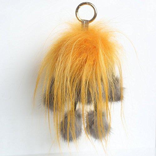 2017 new mink fur Golden Fleece M crazy doll bag ornaments, car key chain pendan (gray)