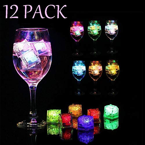 Yeawooh 12 Pack Multi Color Light-Up LED Ice Cubes with Changing Lights,Led Light up Ice Cube Induction Light for Funny Drinking