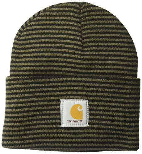 Carhartt Men's Acrylic Watch Hat A18, Tarmac/Black Stripe, One Size (Under 30 Dollars)