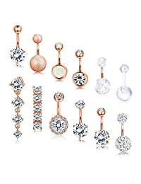 Subiceto 12PCS Stainless Steel 14 Gauge Belly Button Rings Navel Ring for Women Girls CZ Body Piercing Jewelry