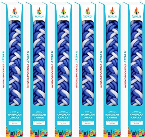 The Dreidel Company Havdalah Candle Handcrafted Havdala Candle (Blue & White, 6-Pack)