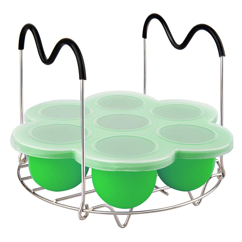 PRAMOO Silicone Egg Bites Mold and Steamer Rack Trivet with Handles, Compatible with Instant Pot Accessories, 2pcs/set for 6qt & 8qt Electric Pressure Cooker