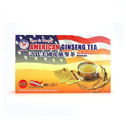 Hsus Ginseng SKU 1038 | American Ginseng Tea, 40ct | Cultivated American Ginseng from Marathon County, Wisconsin USA | 许氏花旗参 | 40ct Box, 西洋参, B000153R4A